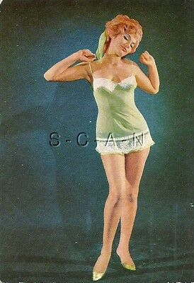 Original Vintage Italian 1950s-60s Semi Nude Pinup Card- Redhead- Green Lingerie