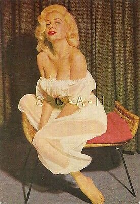Original Vintage Italian 1950s-60s Semi Nude Pinup Card- Blond- White Lingerie