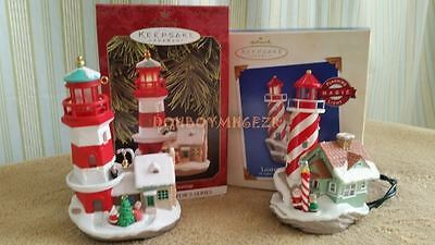 Hallmark 1997 & 2003 Lighthouse Greetings Magic Series Christmas Ornament Lot