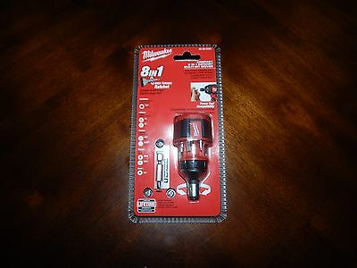 FREE SHIPPING NEW Milwaukee Compact 8 in 1 Ratchet Multi-Bit Driver