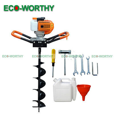 """2.2HP Gas Powered Post Hole Digger W/ 10"""" 25cm Earth Auger  52CC Power Engine"""