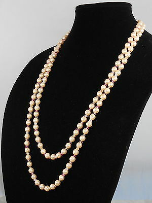 Carolee Goldtone GRACIE MANSION Pale Blush Pink Faux Pearl Long Rope Necklace