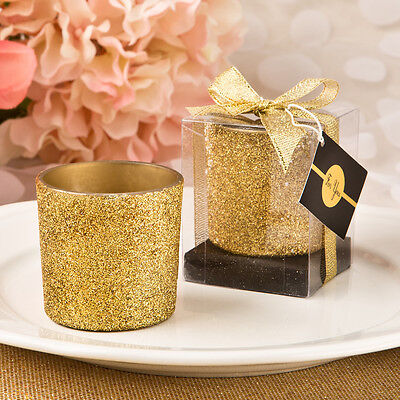 72 - Bling Collection Gold Glitter Votive Candle - Wedding Party Favor