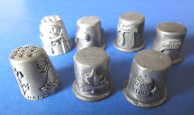 Pewter Thimbles, Lot of Seven  (7) Vintage Collectible Pewter  Thimbles