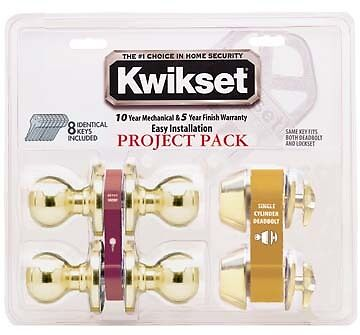 "Kwikset Deadbolt Lock Entry 2-3/8"" Tylo Polished Brass 92420-031"