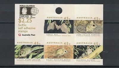 1992 Australia, Threatened Species SG1328pa O/P Chicago 92 ACSC, Imperforated MS
