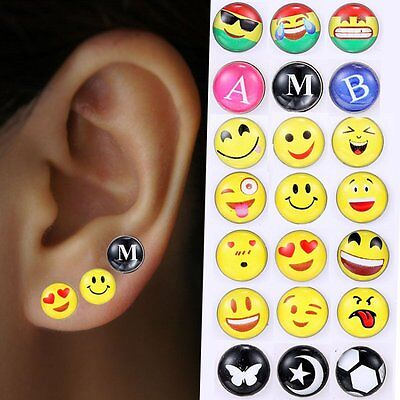 Lots Of 12pairs Cute Emoji Happy Face Ear Studs Earrings Women Party Jewelry