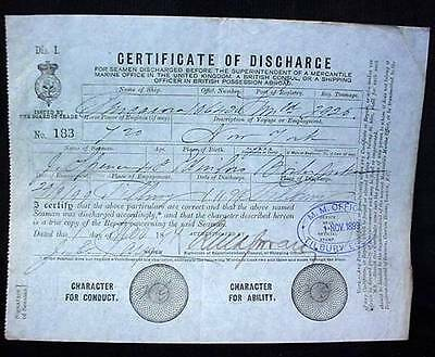 Mercantile Navy Seaman's Discharge Certificate 1899 Tilbury Essex Named Spencer