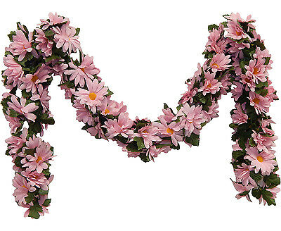 PINK DAISIES Chain Garland ~ 5 ft Silk Wedding Flowers Arch Gazebo Decor NEW