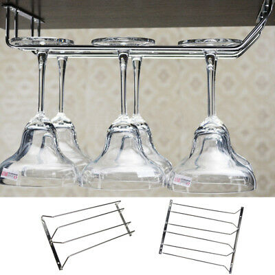 2 / 3 Rows Home Bar Wine Glass Rack Cup Hanging Holder Shelf Silver Bronze HOT