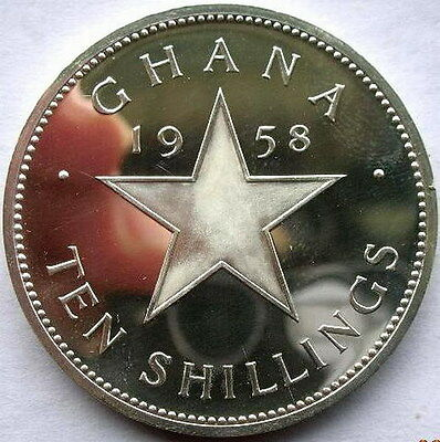 Ghana 1958 Nkrumah 10 Shillings Silver Coin,With Box