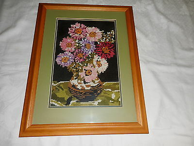 Cross Stitch Wall Picture Professionally Completed & Framed Flowers In Vase
