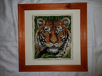 Long Stitch Wall Hanging Picture Completed & Framed Tiger