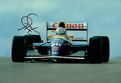 Nigel MANSELL SIGNED 12x8 Photo Williams RENAULT Red 5 Autograph AFTAL COA