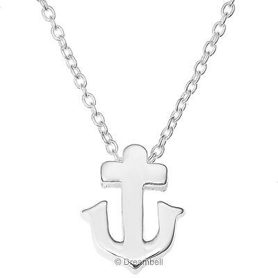 "925 Sterling Silver Ship Anchor Friendship Charm Pendant Chain Necklace 16""+1"""