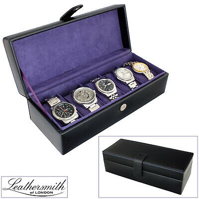 Leathersmith Of London® Black Bonded Leather 5 Watch Box With Purple Interior