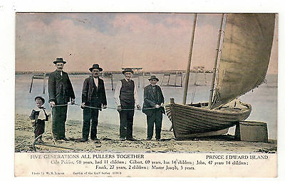 Prince Edward Island. Five Generations Of Family. Old Printed Postcard.