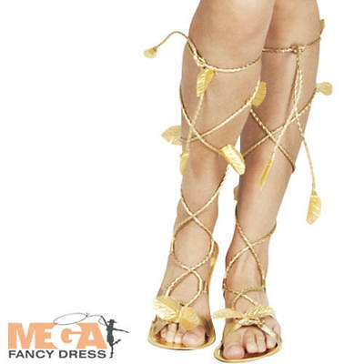 Ladies Gold Roman Sandals Fancy Dress Grecian Womens Adults Costume Accessory