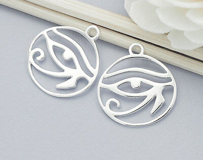 925 Sterling Silver  2  Eye Of Horus Charms 16x17 mm.