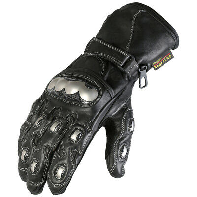 Texpeed Mens Leather Protective Racing Motorcycle Gloves In Black & Chrome