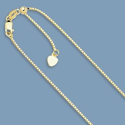 Solid Adjustable Venetian Box Chain Necklace Real 14K Yellow Gold 2.1gr  22""