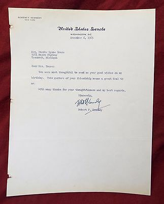 Vintage 1965 ROBERT F. KENNEDY Thank You Letter SIGNED U.S. Senate Stationary