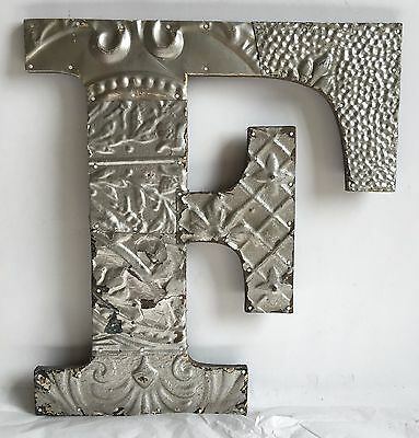 """Large Antique Tin Ceiling Wrapped 16"""" Letter 'F' Patchwork Metal  Silver B73"""