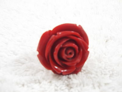 Red Acrylic Rose RING Adjustable Size 6-8 (C41)