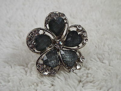 Silvertone Blue Heart Cabochon Rhinestone Flower RING -Adjustable Size 6-8 (C41)