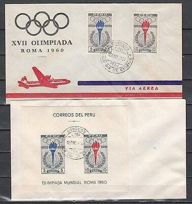 """ Peru, Scott cat. C172-C172 & C173a. Rome Olympics on 2 First day covers."