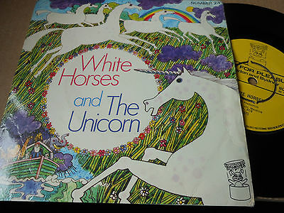 "CHILDRENS 7"" single WHITE HORSES and UNICORN on music for pleasure label no 24"
