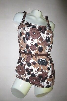 Vtg 60's CATALINA One Piece Pin UP Bombshell Belted Swimsuit, Vera Insprired  12