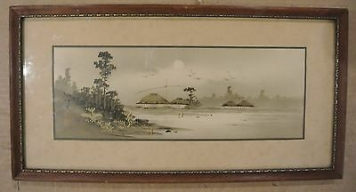 Vtg Japanese Hand Painted Sumi with Gold Accents Wood Framed Picture