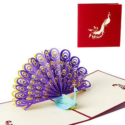3D Pop Up Greeting Card Peacock Birthday Easter Anniversary Mother's Day Thanks