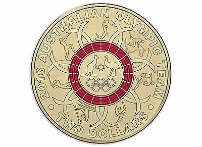 2016 Royal Australian Mint RAM - Rio Olympic Games $2 RED Coloured Coin