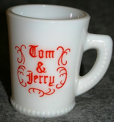 Vintage McKee Glass Tom and Jerry Mug Red on White Letters McK Signature on Base
