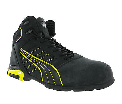 Puma Amsterdam Mid S3 SRC Black Leather Safety Mens Work Boots Trainers UK6-12