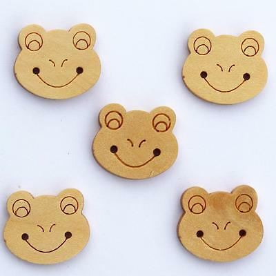 Bouton en Bois Naturel - Grenouille - Lot de 10 : Scrapbooking Couture Mercerie