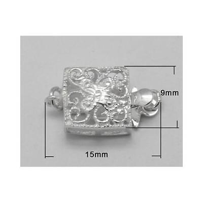 1 x Silver 925 Sterling Silver 9 x 15mm Square Box Clasp Set Y02000