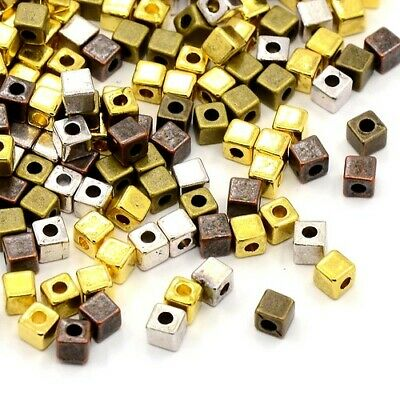Tibetan Cube Spacer Beads 4mm Mixed 25+ Pcs Art Hobby Jewellery Making Crafts