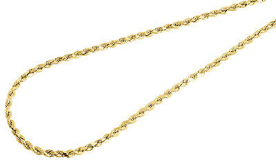 """Men's 1/10th 10K Yellow Gold  Hollow Rope 20"""" Chain 2mm Link Necklace"""