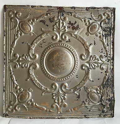 """1890's 24"""" x 24"""" Antique Reclaimed Tin Ceiling Tile Silver Metal Anniversary B79"""