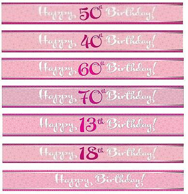 Perfectly Pink Foil Banner Happy Birthday/Party/Celebrations/Silver/Spots 9 ft