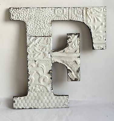 "Large Antique Tin Ceiling Wrapped 16"" Letter 'F' Patchwork  Mosaic White B83"