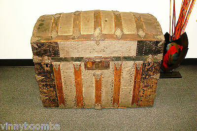 Antique Humpback Trunk Steamer Travel Chest Very Nice Turn Of The Century Piece