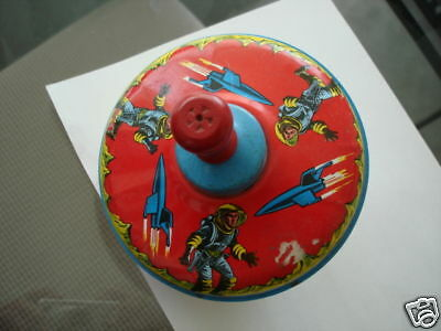 Buck Rogers rare original large Spinning Metal Toy top 1965