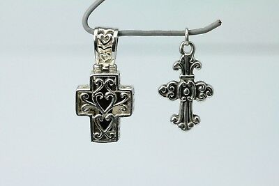 Set of Two Old World Style Cross Pendants One Features Onyx Inlay  (PEN3375)