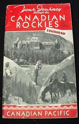 1944  Through Canadian Rockies Eastbound CPR Canadian Pacific Railway Booklet