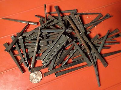 "84 Antique Cut STAMPED Iron Steel 2 1/4"" & 2 1/2"" long SQUARED NAILS spikes"