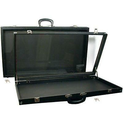 2 Black Glass Top Travel Jewelry Display Carrying Case
